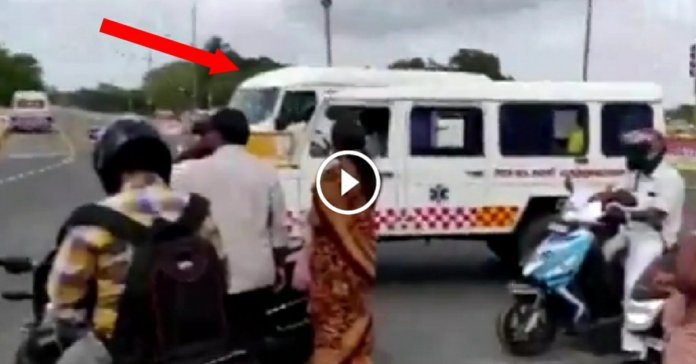 Viral Video : Ambulance stops for VIP convoy