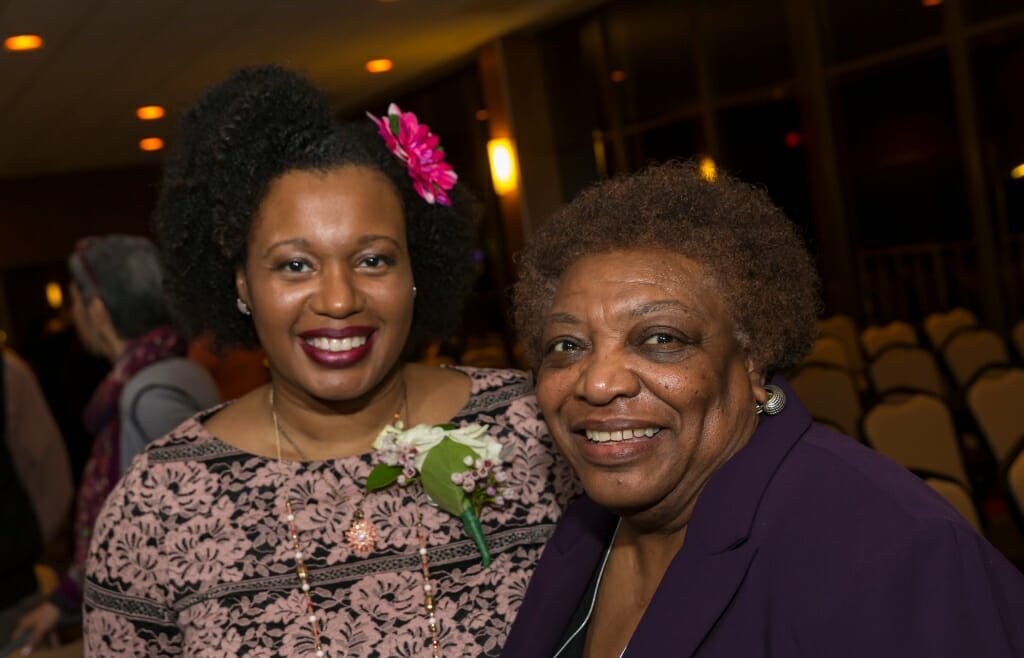 Honoree Barbara Nichols, center. with community colleagues Frances Huntley-Cooper, left, and Theresa Sanders, right.