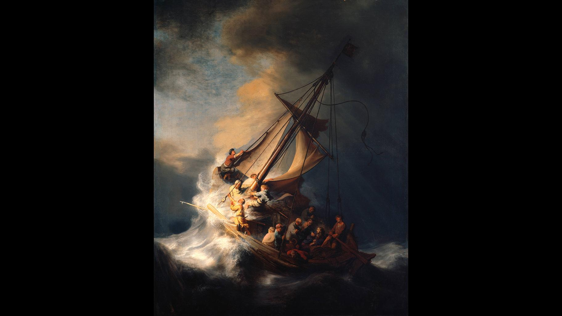 """Rembrandt van Rijn, """"Christ In The Storm On The Sea Of Galilee,"""" 1633."""