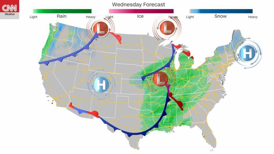 La veille de Thanksgiving, les accumulations globales de pluie et de neige devraient être plutôt basses.  (Crédit: CNN)