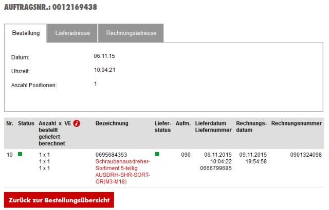 Hier sehen Sie alle Bestellungen sortiert nach Bestelldatum bzw. nach Jahr und Monat. Weiters können Sie hier auch den Status der gesamten Bestellung einsehen. Durch einen Klick auf eine AUFTRAGSNUMMER gelangen Sie zur Detailansicht der Bestellung.