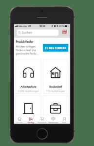 Funktionen der Würth App (Lautstärkenmesser für Gehörschutzempfehlung, Click & Collect usw)