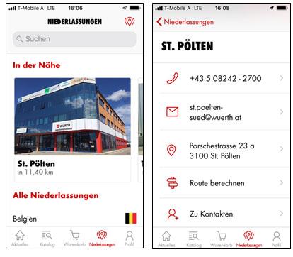 Die Würth App hilft, das nächste Kundenzentrum schnell zu finden.