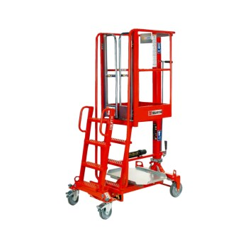 Der IXOLIFT bietet 4m Arbeitshöhe, ist handverschiebbar und sehr leicht.