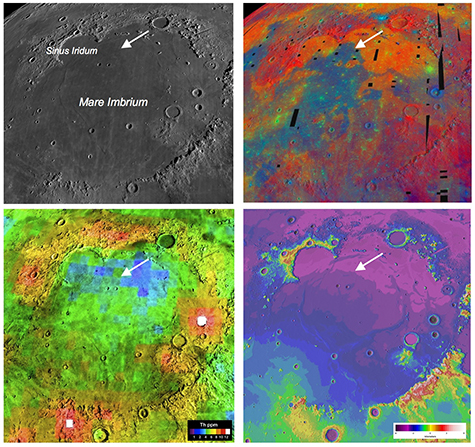 Four views of the Mare Imbrium basin and the Chang'e-3 landing site demonstrate how different the Moon looks to different types of remote sensing, underscoring the need for ground truth to calibrate the orbital observations. For a larger version of this image click here.