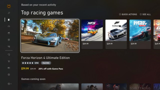 Interfaz de la tienda digital de Xbox