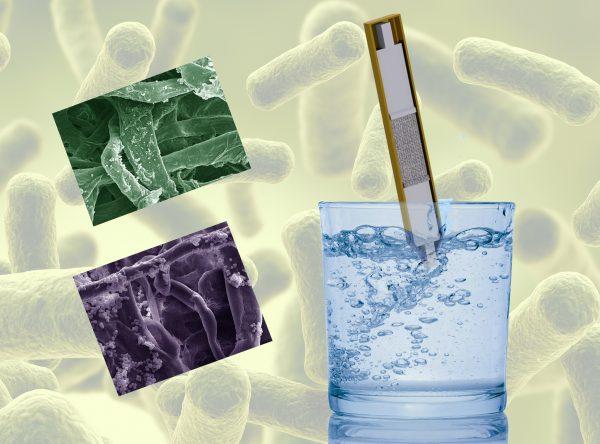 Plaquette de présentation du DipTreat qui force les bactéries à migrer vers le milieu du filtre qui contient un agent antimicrobien, ce système permet de capturer entre 90 et 95% des bactéries présentes dans de l'eau