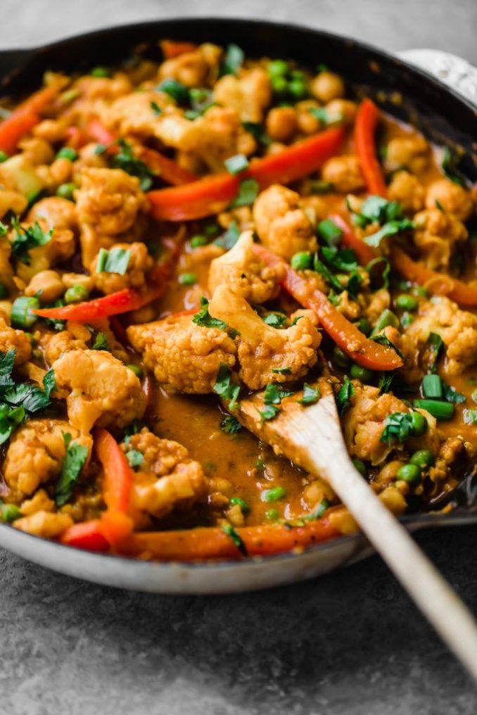 Thai Peanut Coconut Cauliflower Chickpea Curry | Yummy