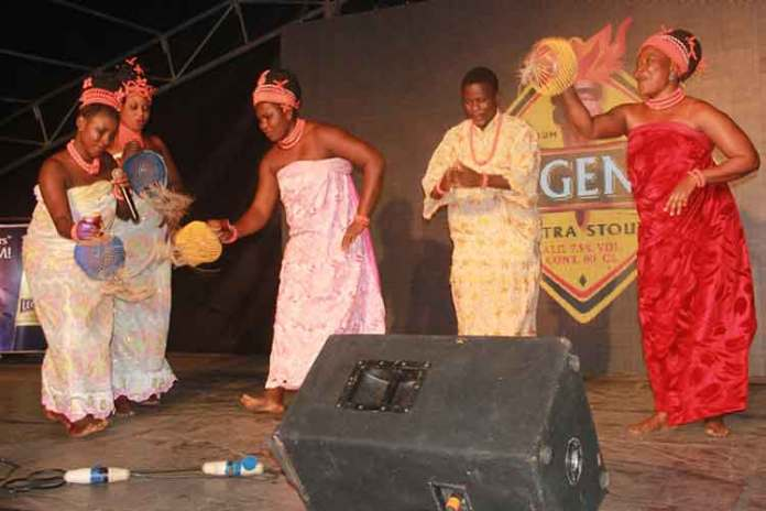 Aihinomwen Theatre Troupe, performing at the Legend Extra Stout Taste and Tell night held at Museum Field, Benin city, Edo State on Saturday, November 7,2015