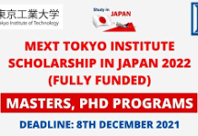 MEXT Titech Scholarship in Japan 2022 | Fully Funded