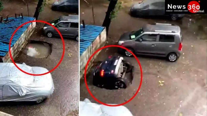 The Entire Car Got Swallowed by Sink Hole. Watch Video