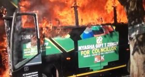 Zanu PF Bus burnt