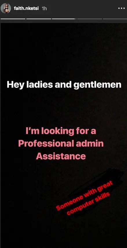 Faith Nketsi hiring