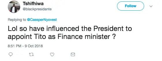 Cassper Nyovest tweet