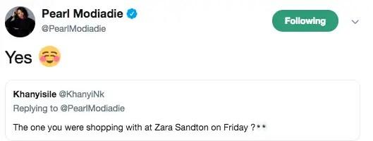 Pearl Modiadie Tweet
