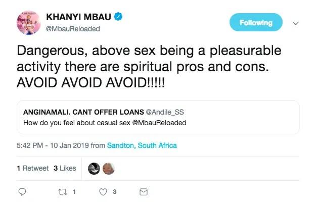 Khanyi Mbau tweet