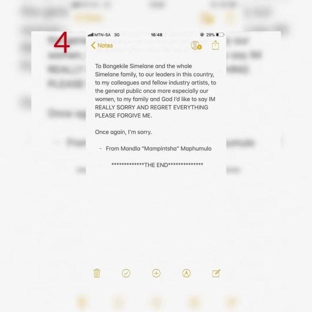 Mampinstha Apolody statement