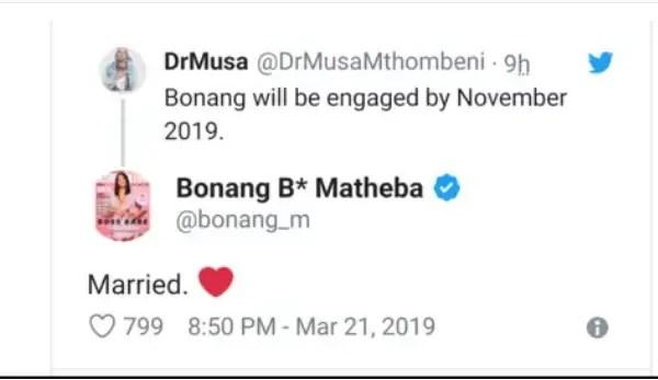 Bonang Matheba Tweet