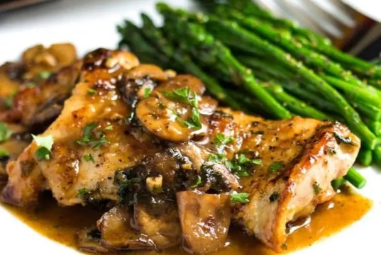 Pan-grilled chicken breasts