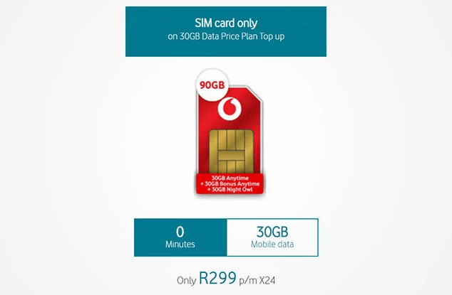 Vodacom 90GB for R299