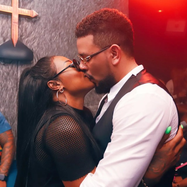 DJ Zinhle and AKA kiss