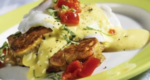 Mushroom fritters with eggs
