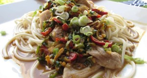 Steamed chicken and noodles