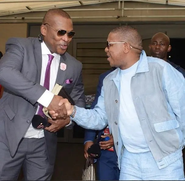 Robert Marawa and Fikile Mbalula