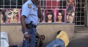 Cop kicks hubcap thieves