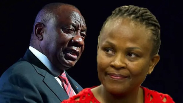 Busisiwe Mkhwebane and Cyril Ramaphosa