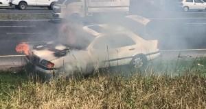 Driver escapes burning car