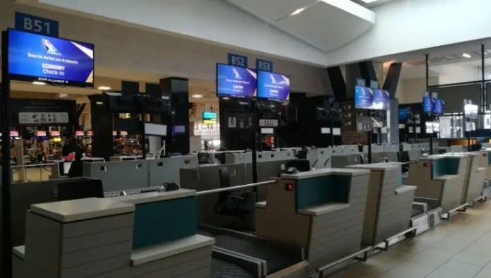 An abandoned terminal at OR Tambo international airport amid the SAA strike
