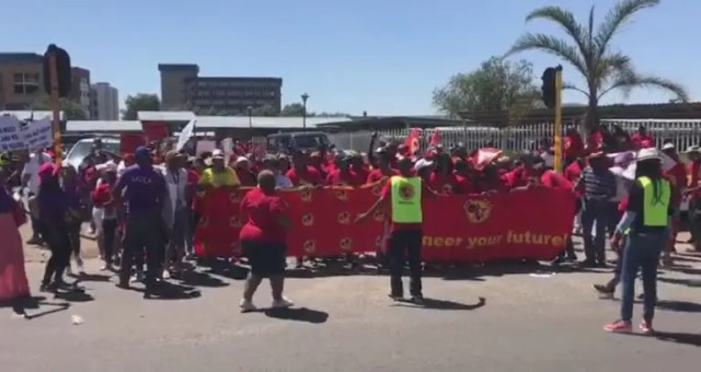 SACCA and Numsa members protest outside SAA head office in Kempton Park