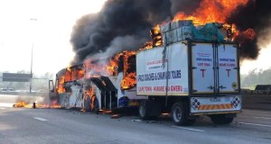 bus catches fire