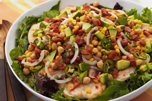 chicken with bean salad