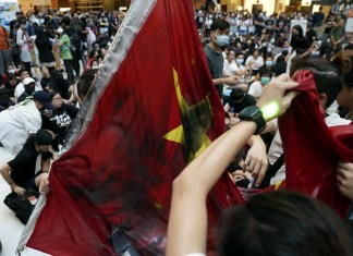 Anti-government protesters hold a rally in a shopping mall in Sha Tin, Hong Kong, China