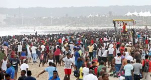 Durban beach goers