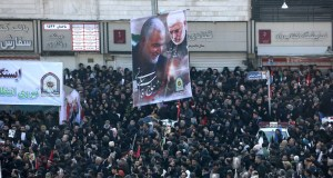Iranian mourners take part in a funeral procession in the capital Tehran