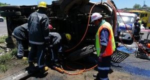 Jaws of Life used to free truck driver
