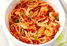 Prawn and tomato pasta