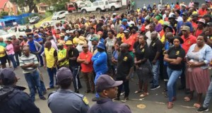 Samwu-affiliated workers gather outside the Ugu District Municipality offices demanding that the mayor addresses them