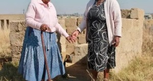 Elisa Khumalo, 104, and her daughter-in-law, Nokuthula Khumalo, in Mndozo, Newcastle