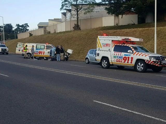 Motorcycle vs car injures one