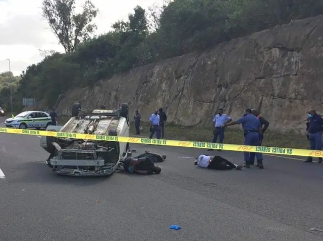 Three men were arrested following a high-speed chase with police in Durban
