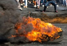 burning tyre protest