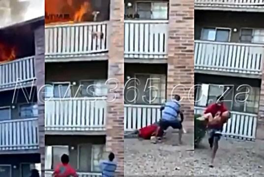 man catches baby