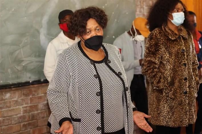 Angie Motshekga addressing the media at Letlhabile North West
