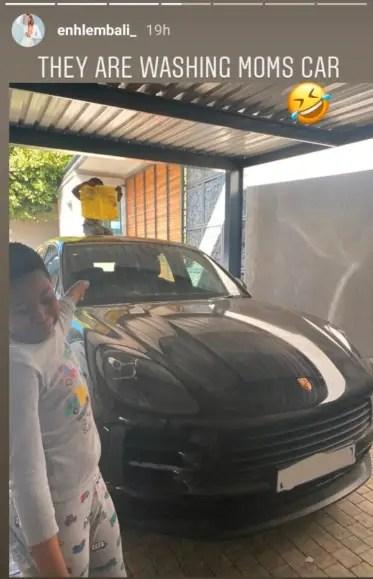 Enhle Mbali flashes her Porsche