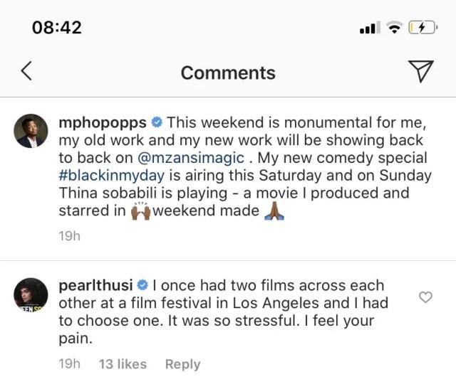 Pearl Thusi response to Mpho Pops