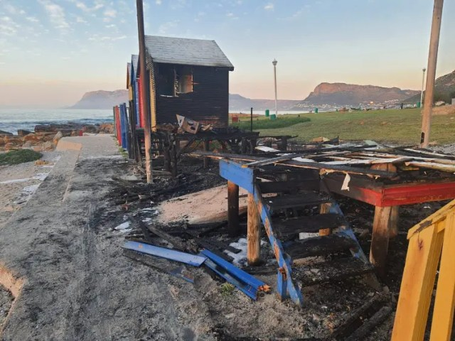 several beach huts at St James in Cape Town destroyed